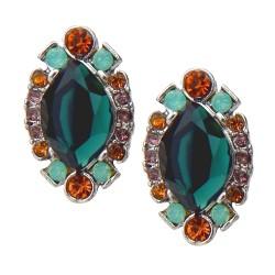 Ohrringe grün orange Trendfarben Strass Ohrstecker Vintage Style