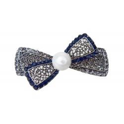 Haarspange Schleife silber blau Perle Strass