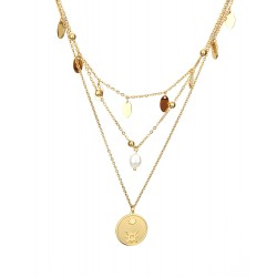 Halskette gold Layering Kette 3-teilig Perle Coins Layer Style