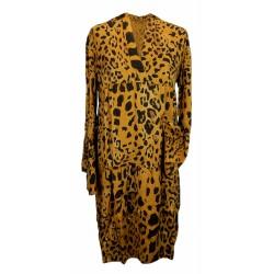 Kleid Leopard curry gelb schwarz Hänger Animalprint