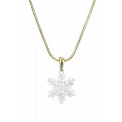 Halskette gold weiß Schneeflocke kurze Kette in Geschenktüte