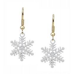 Ohrringe Schneeflocke gold weiß Ohrhänger - Snowflake