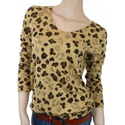 Damen Feinstrick Pullover beige braun schwarz Leopard Print Größe 36-40