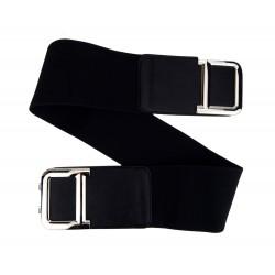 Stretchgürtel schwarz silber Tailiengürtel Hüftgürtel Damen Gürtel 75 - 95 cm