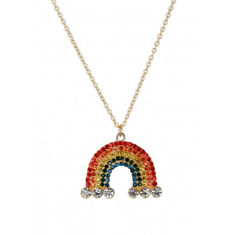Lange Halskette Regenbogen bunte Strass Steine Kette Rainbow