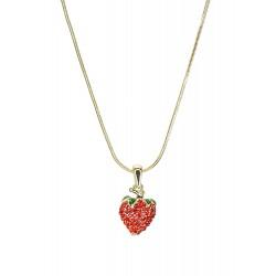 Kurze Halskette + Anhänger Erdbeere gold