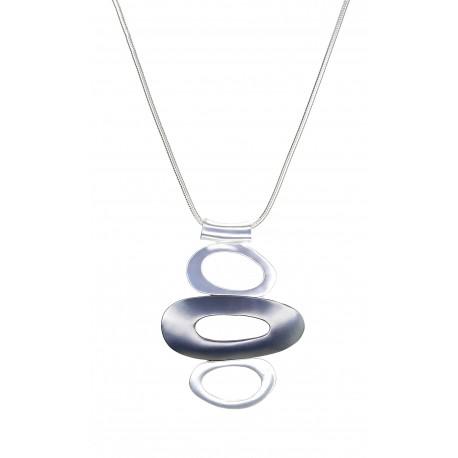 Lange edle Geo Halskette silber grau Kette + Anhänger Ringe