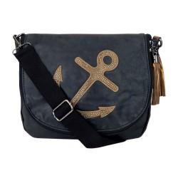 Tasche Anker schwarz -blau oder grau mit Nieten Ankertasche Handtasche