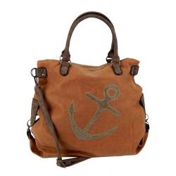 XXL Tasche braun Nieten Anker Shopper maritime Damen Handtasche