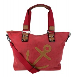 Tasche Anker rot braun Kunstleder Handtasche Shopper