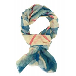 Bunter breiter Schal blau türkis beige pink Damenschal Viskose