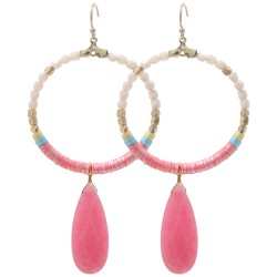 Ohrringe Ibiza Boho Style Perlen Creolen rosa oder grün