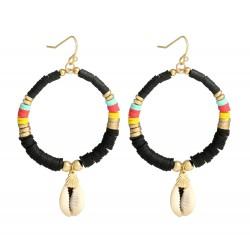 Ohrringe Ibiza Boho Style Creolen Muschel schwarz oder rosa Ohrhänger
