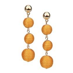 Lange Ohrringe Kugeln gold Textil gelb Ohrstecker