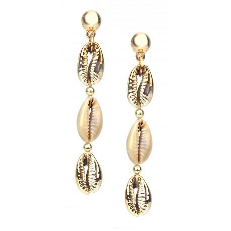 Ohrringe gold Muschel lange Ohrstecker Boho Ibiza Style