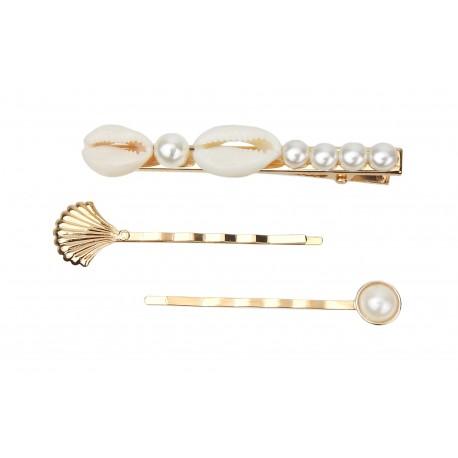 3er Set Haarspangen gold Muschel Perlen maritim Haarclip Haarklemme