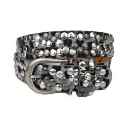 Gürtel Leopard grau schwarz Nieten Boho Style Jeansgürtel Leder + Synthetik