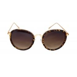 Damen Sonnenbrille gold Leopard Design ovale Gläser Animalprint