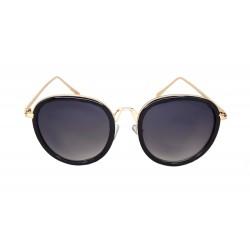 Trend Damen Sonnenbrille schwarz gold ovale Gläser im Etui