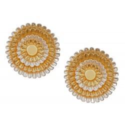 Große runde Ohrclips silber gold bicolor urbane Ohrringe Ohr Clips
