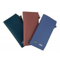 Lange Geldbörse rosa blau oder grün Katze Fotofach Portmonnaie