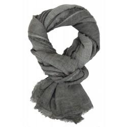 Herrenschal grau breiter lässiger Schal mit Rundumfransen 100% Baumwolle