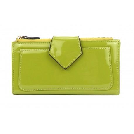 Geldbörse grün lindgrün Fotofach großes Kleingeldfach Lack Kunstleder