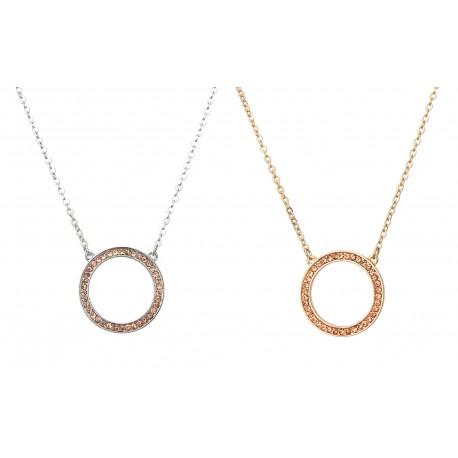 Kurze Halskette Kreis Circle gold oder silber Strass Anhänger