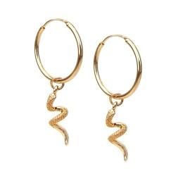 Kleine Creolen Schlange Ohrringe gold oder silber Trend Ohrschmuck