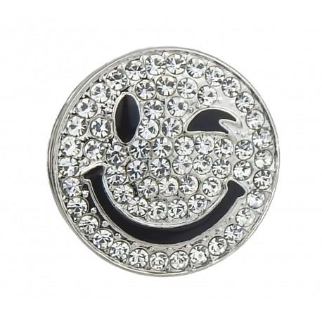 Emoji Magnetbrosche große silber glitzernde Strass Brosche 4,5 cm
