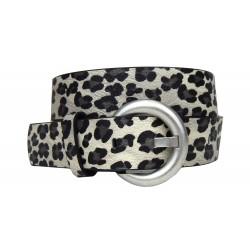 Ella Jonte Damen Gürtel grau schwarz Leopard Animalprint Leder + Synthetik