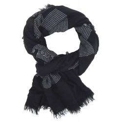 Herrenschal schwarz rot oder blau weicher Schal aus Baumwolle Viskose