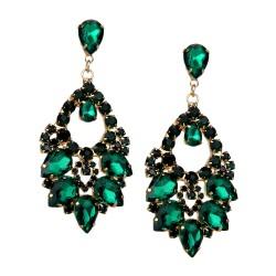 Lange Statement Ohrringe gold grün - rot oder schwarz