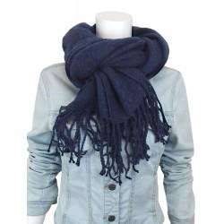Weicher Damenschal Trendfarbe blau - lange Fransen Herbst Winter