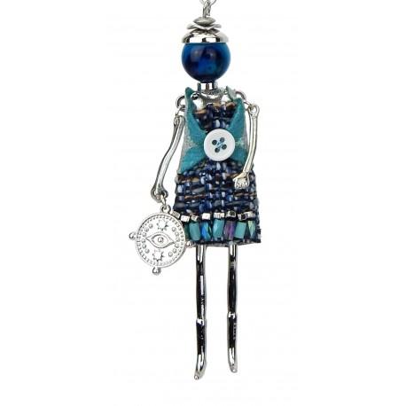 Lange Halskette silber Püppchen Charm Anhänger braun oder blau Model