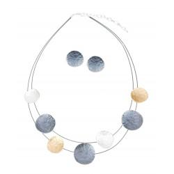Halskette + Ohringe Set Collier Ohrstecker silber gold grau oder rot rose