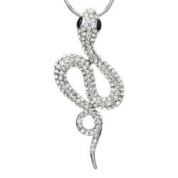Lange Halskette solber + Anhänger Schlange Strass Snake Geschenk