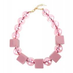 Statement Halskette Trend Perlenkette rosa große Perlen kurze Kette