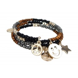 Armband Emoji gold bunt Perlenarmband Perlen Wickelarmband
