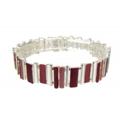 Armband silber rosa violett elastisch Armreif max. 22 cm