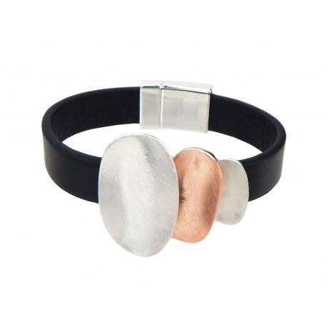 Armband Lederarmband schwarz gold oder silber rosegold Magnetverschluss