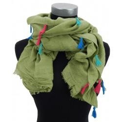 Schönes Tuch lindgrün mit bunten Quasten by Ella Jonte